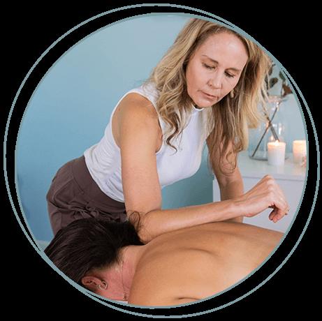 Kathryn Winget massaging a patient